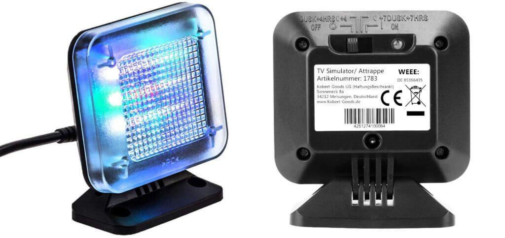 Ein LED TV-Simulator dient als Fake-Fernseher und somit als Einbruchschutz. Für Urlaub, Weihnachten, Silvester und die Nachtschicht gleichermaßen geeignet. Bilder: Amazon