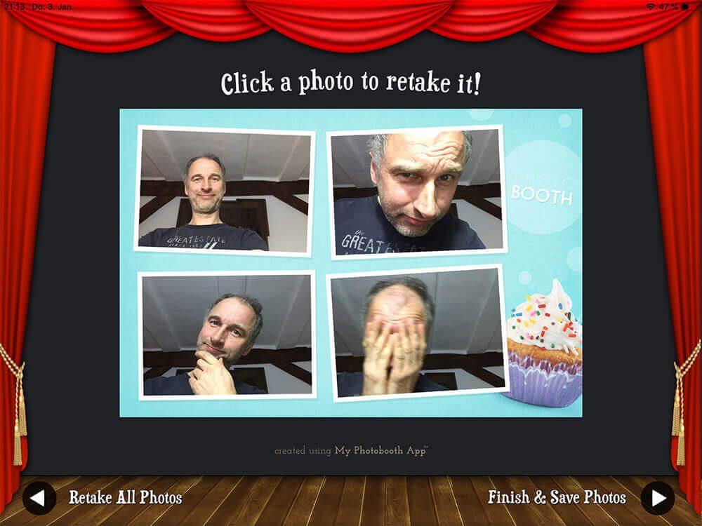 So sieht dann die Vorschau des Photobooth-Ausdrucks in der App aus. Ich hab nur mal probiert… darum sind keine Luftschlangen in den Fotos zu sehen!