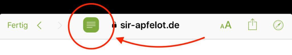 Mit diesem Button schaltest du den Reader-Modus in der App aus.