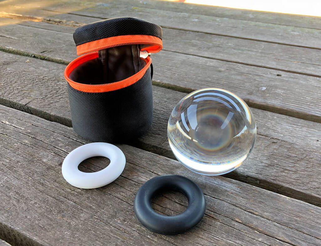 Das Set mit dem Rollei Lensball und den Silikonringen läßt sich wunderbar bei Wanderungen mitnehmen. Beim Rasten kann man dann auch ein paar Fotos machen.