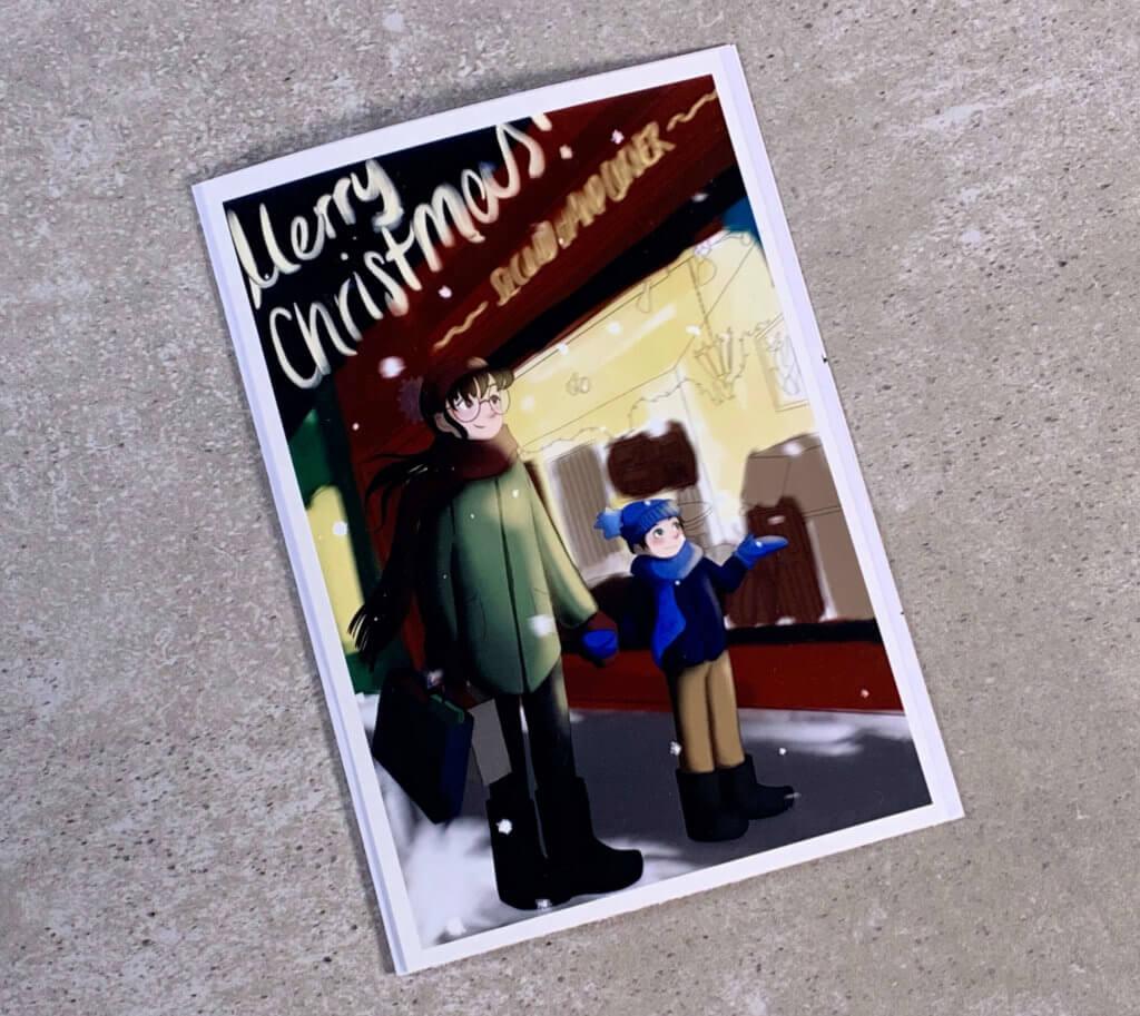Mit dem Canon Selphy, Kreativität und ein bisschen Bastelgeschick lassen sich tolle Weihnachtskarten machen. Die Zeichnung auf der Karte ist übrigens von Mia. Man findet sie auf Instagram unter @miselchen_draws.