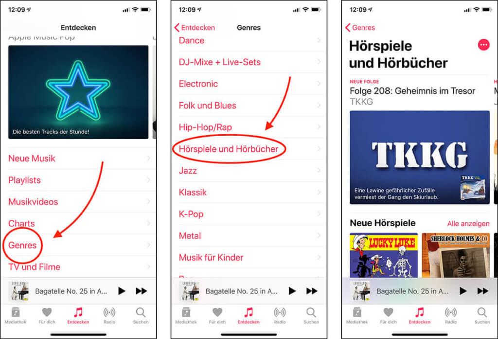 Am iPhone und iPad ist die Navidation quasi genauso wie bei iTunes am Mac. Auch hier geht man über Entdecken und Genres, um zu den Hörspielen und -büchern zu gelangen.