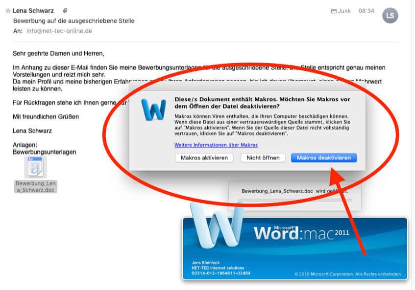 Hier seht ihr einen Screenshot einer Word-Datei mit Makrovirus im Anhang. Wenn man sie öffnet, fragt der Mac nach, ob man die Makros ausführen oder aktivieren möchte. Solche Dateien und Mails sollte man direkt löschen.