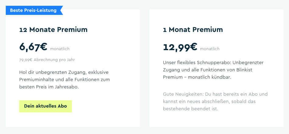 Die Preise für Blinkist-Premium im Monats- oder Jahresabo. Der Screenshot ist vom Januar 2019.