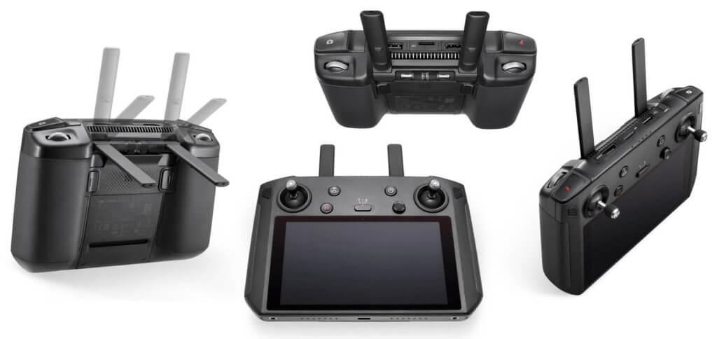 Der DJI Smart Controller aus verschiedenen Perspektiven. Display, Antennen, Mikrofon, Lautsprecher und Steuerelemente machen ihn zum Allrounder für den Drohnen-Flug!