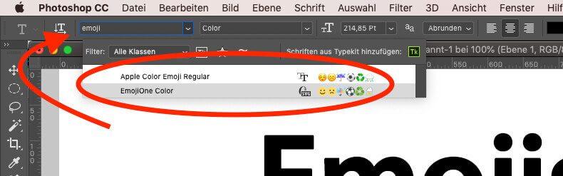 Über die Schriftauswahl kann man in Photoshop nach den zwei Emoji-Schriftarten suchen.
