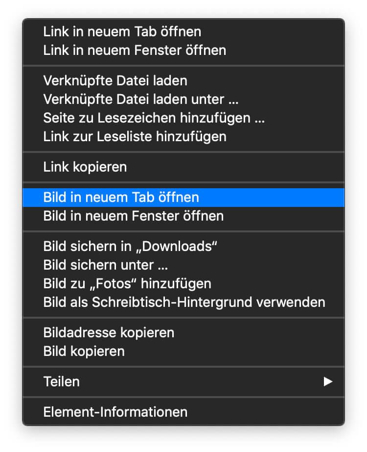 Im Safari-Browser unter macOS könnt ihr die Vorschau eines Bildes bei Google rechtsklicken und dann im Original anzeigen lassen.