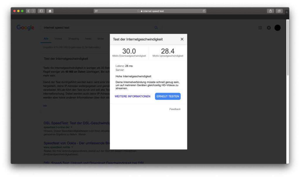 Der Internet Speed Test verrät euch unter anderem, ob eure Verbindung für Upload und Download bestimmter Inhalte ausreicht.
