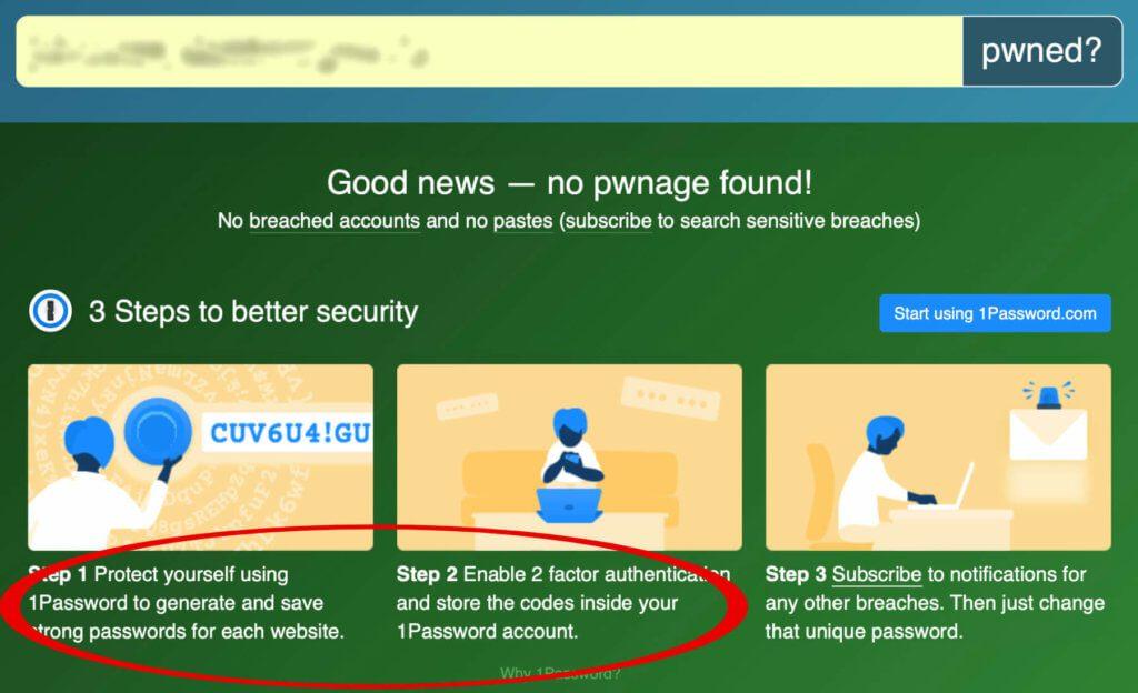 Beim Überprüfen auf HaveIBeenPwned, einem Angebot von Troy Hunt, wird direkte Werbung für 1Password gemacht.