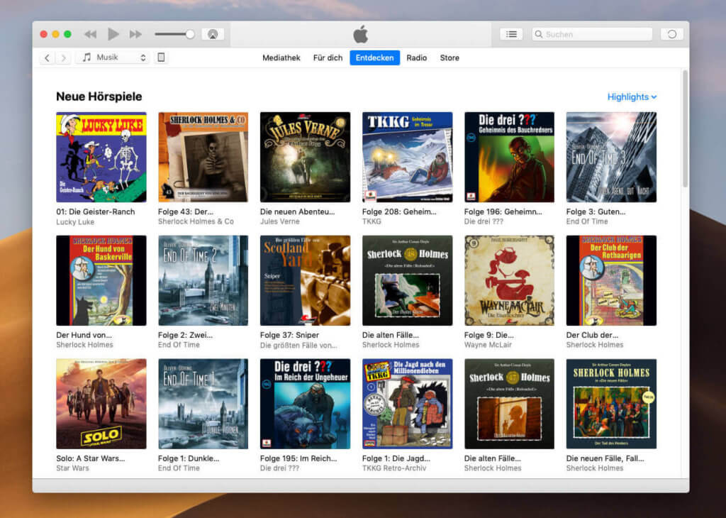 Die Auswahl an Hörbüchern und -spielen hat bei Apple Music rasant zugenommen. Hier ein aktueller Screenshot von iTunes an meinem MacBook Pro.