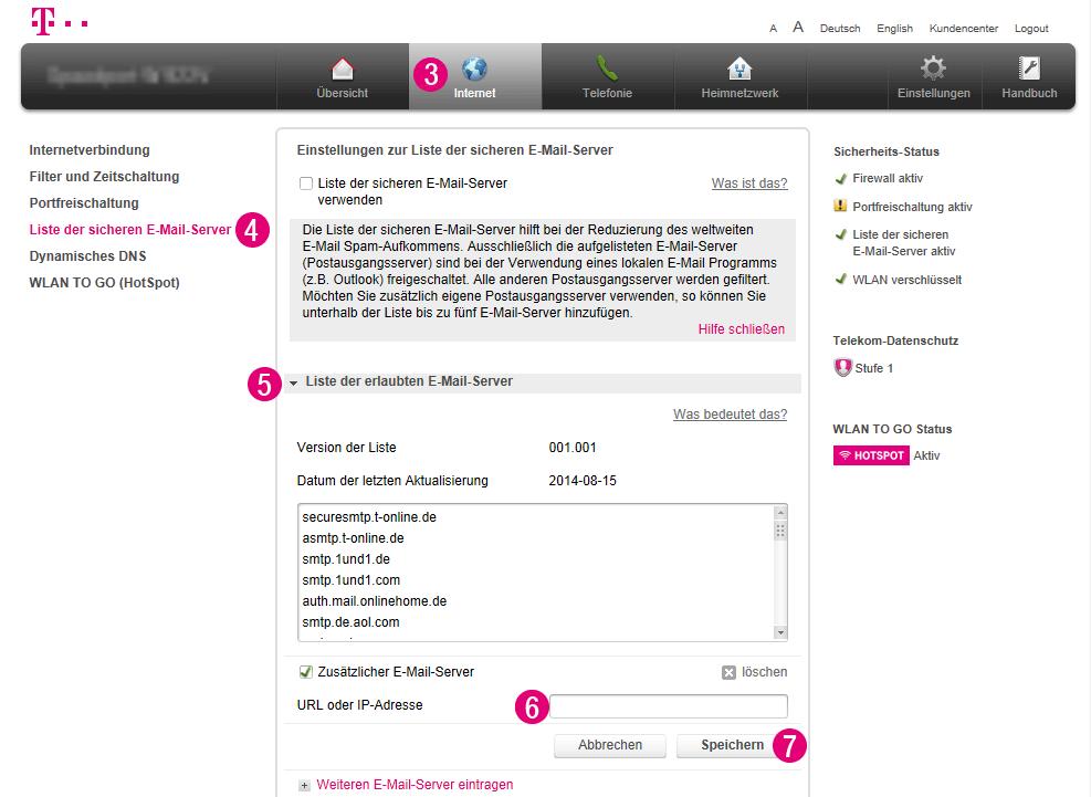 Hier noch ein Screenshot, den ich bei der Telekom gefunden habe. Dort wird gezeigt, wo man die Liste der sicheren Mail-Server findet.