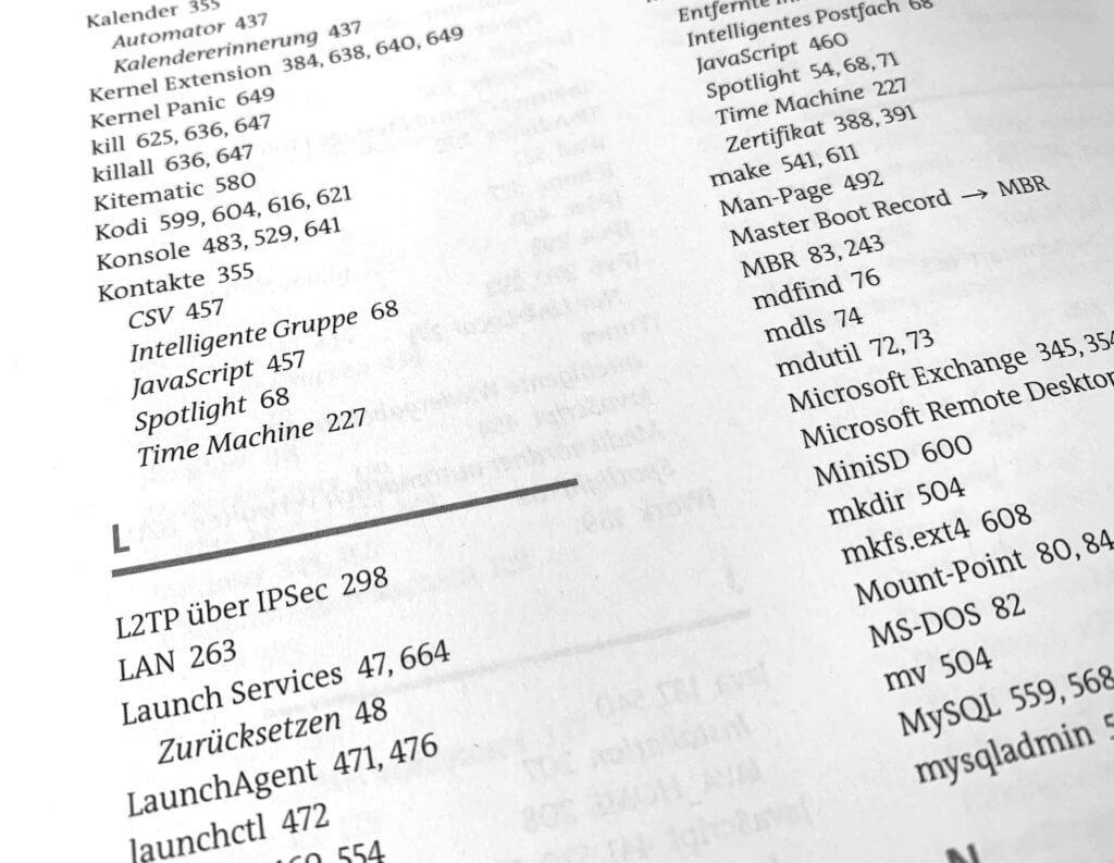 """Das Inhaltsverzeichnis zeigt schon, wie detailiert das Buch über Themen von macOS berichtet. Einen eignene Kapitel zu den """"Launch Services"""" findet man eher selten."""