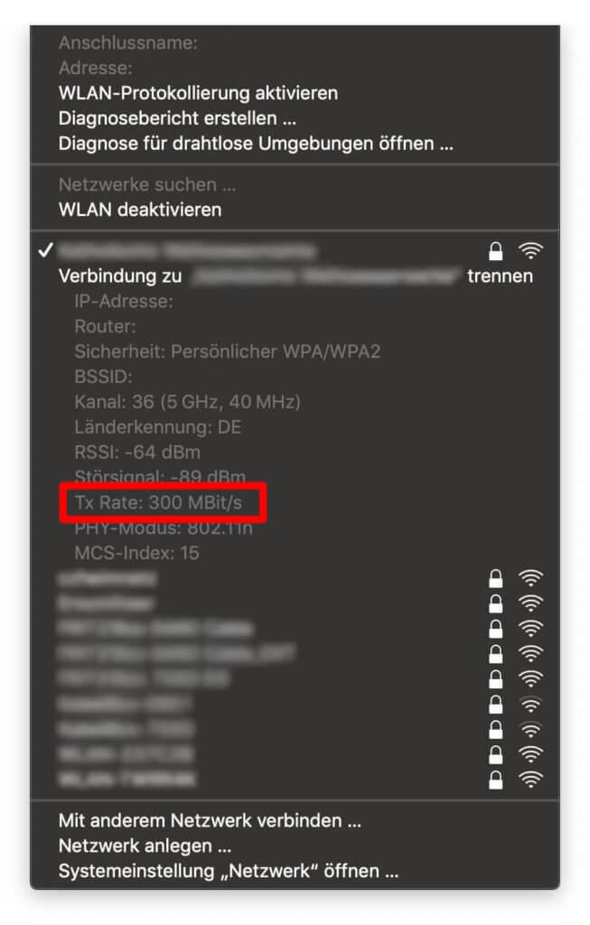 Die Tx Rate verrät euch die aktuelle Geschwindigkeit des Austauschs von Router und Mac in MBit/s.