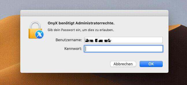 Nach dem Start verlangt OnyX das Passwort eines Administrators.