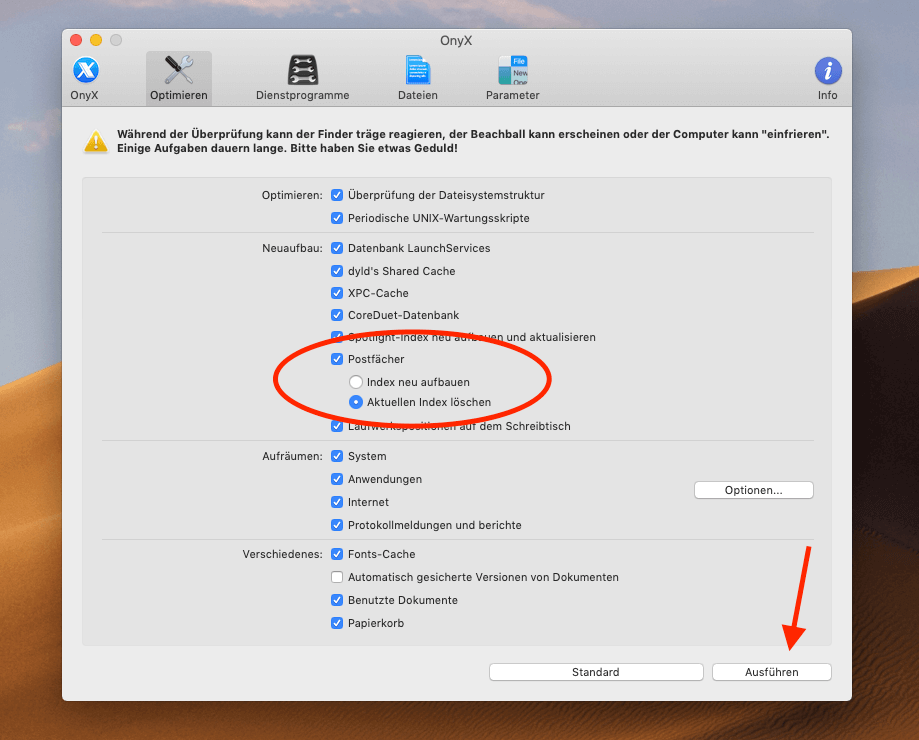 Mit dem kostenlosen Mac-Tool OnyX läßt sich die Mail-Datenbank bzw. deren Index ebenfalls neu aufbauen.