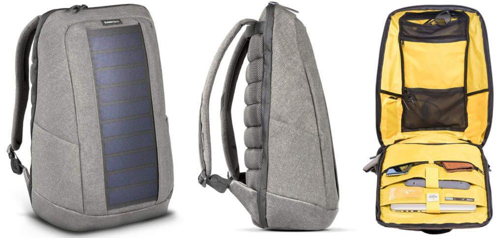 Der SunnyBAG Iconic hat ein 7 Watt Solarpaneel zum Aufladen von Smartphone, Tablet, Action Cam und Co. Der Solar-Rucksack kann auch eine Powerbank zum Zwischenspeichern der Sonnenenergie aufladen. Bilder: Amazon