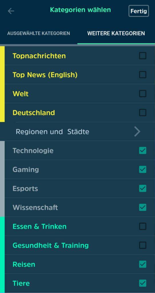 Hier könnt ihr noch viele weitere Kategorien und Themengebiete für euren individuellen News-Feed aussuchen. SQUID App Test 3
