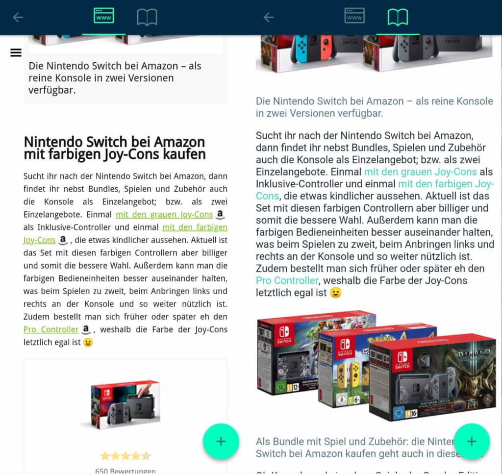 Im WWW-Modus wird die originale Formatierung angezeigt, im Lesemodus hingegen werden einzelne Darstellungsoptionen vereinheitlicht oder Inhalte komplett herausgenommen. SQUID App Erfahrungen