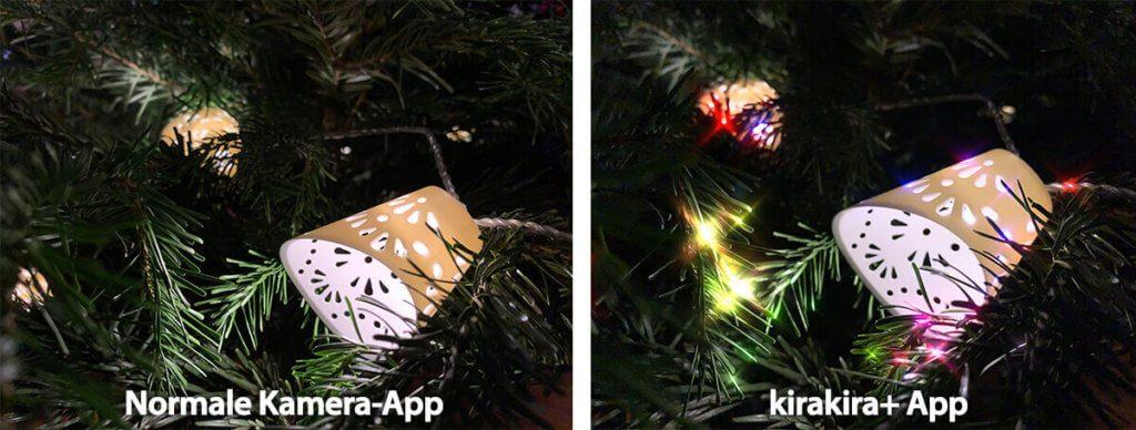 Auch die Nahaufnahme vom Weihnachtsbaum macht mit KiraKira etwas mehr her.