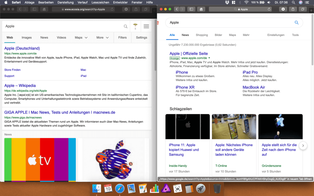 """Ecosia liefert """"saubere"""" Ergebnislisten. Bei Google gibt es erst einmal Werbung und News bevor das erste echte Suchergebnis angezeigt wird."""