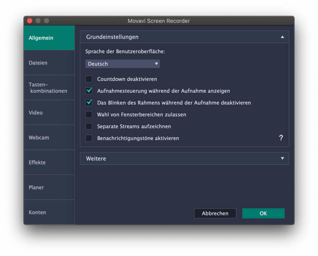 Allgemeine Einstellungen in der Movavi Screen Recorder 10 App.