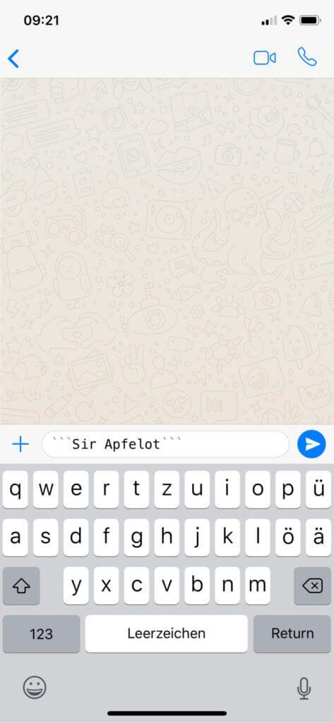 So sieht eine WhatsApp-Nachricht in Monospace-Formatierung aus.