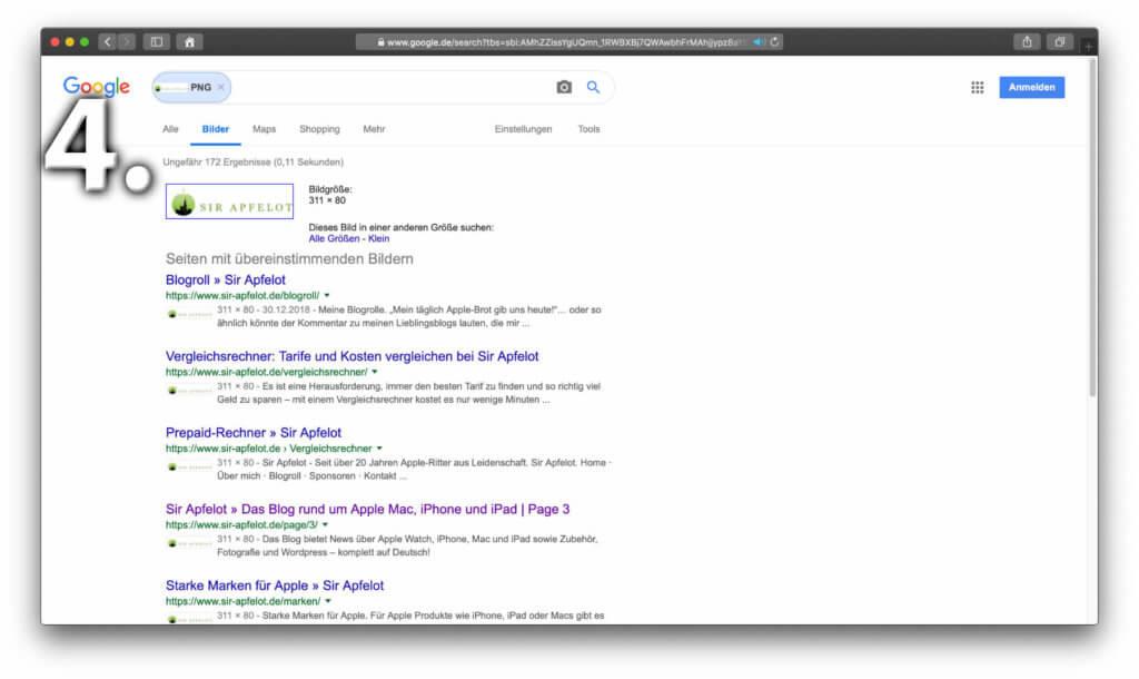 """Habt ihr unter """"3."""" auf den """"Bildersuche""""-Link geklickt, dann werden euch gleich aussehende Bilddateien im Netz inkl. ihrer Website aufgelistet."""