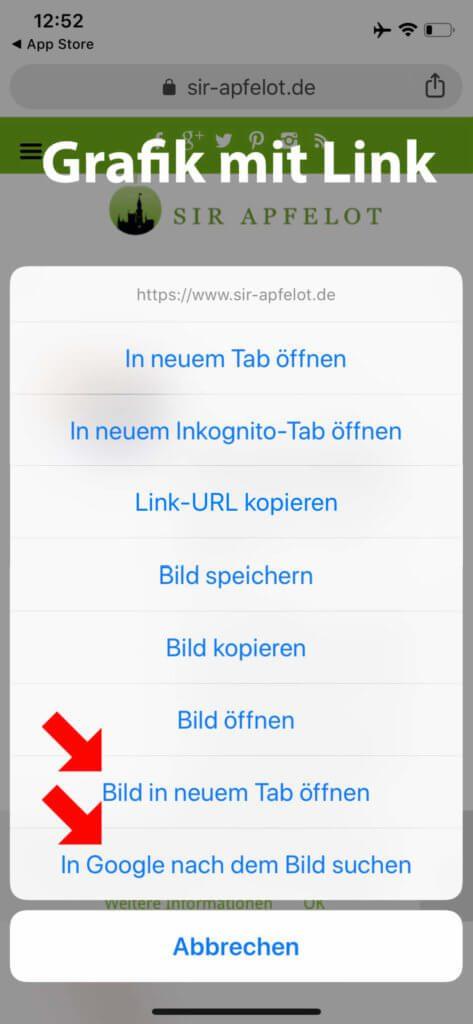 In der Chrome App sieht das schon ganz anders aus. Hier gibt es einen Menüpunkt, der direkt zur Rückwärts-Bildersuche von Google führt.