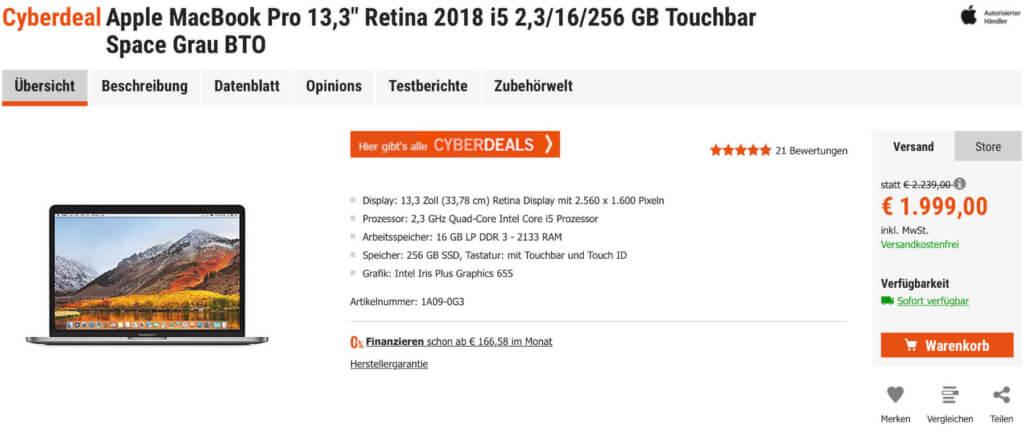 """Das Apple MacBook Pro 13,3"""" 2018 mit Retina-Display und Touch Bar günstiger kaufen geht diese Woche bei den Cyberport Cyberdeals!"""