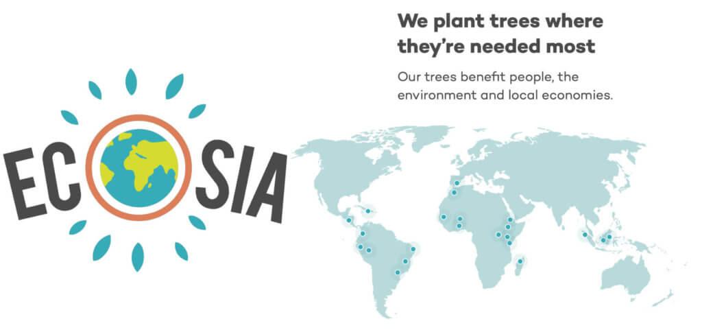 Ecosia sorgt dafür, dass jede Suche im Internet mit grünen, gemeinnützigen Projekten auf der ganzen Welt verknüpft wird.