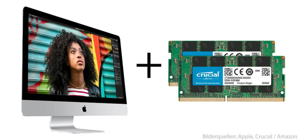 Den iMac Retina 5K 2017 Arbeitsspeicher (RAM) aufrüsten und dabei bis zu 64 GB RAM schaffen. Hier die Schritt-für-Schritt-Anleitung und ein Video von YouTube.
