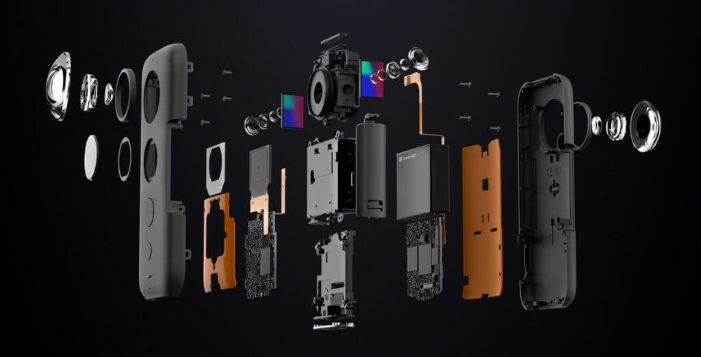 Die Insta360 One X als Explosionszeichnung – soviel Technik steckt in der VR-Kamera (Grafik: Insta360).