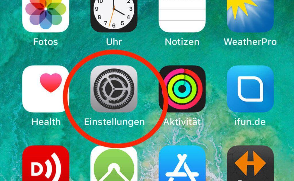 Über die Einstellungen gelangt man zu der Liste der Optionen in iOS.
