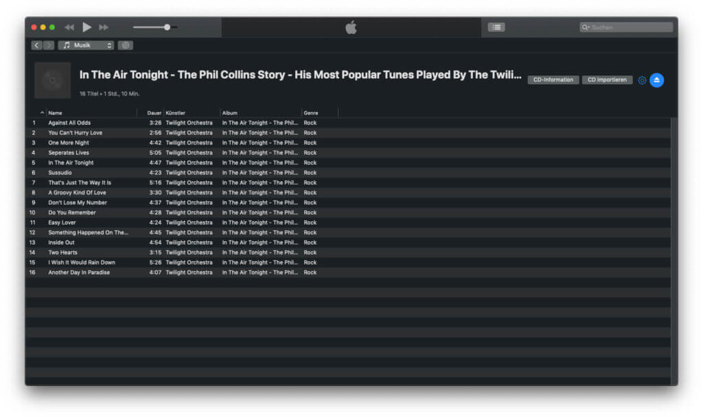 iTunes sollte die CD automatisch erkennen und auch direkt Albuminformationen anzeigen.