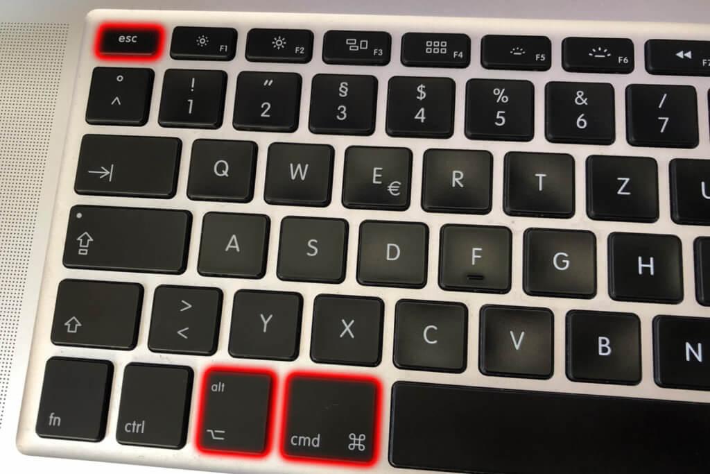 """Die Mac-Tastenkombination, um direkt zum Fenster von """"Programme sofort beenden"""" zu gelangen."""