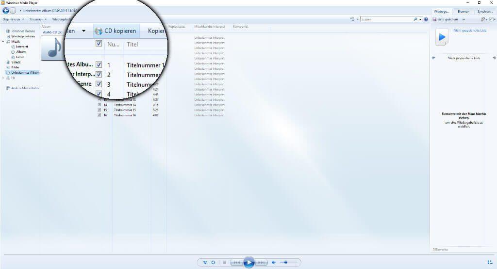 Klickt auf CD kopieren und schon wird das Album auf die Festplatte gebracht.