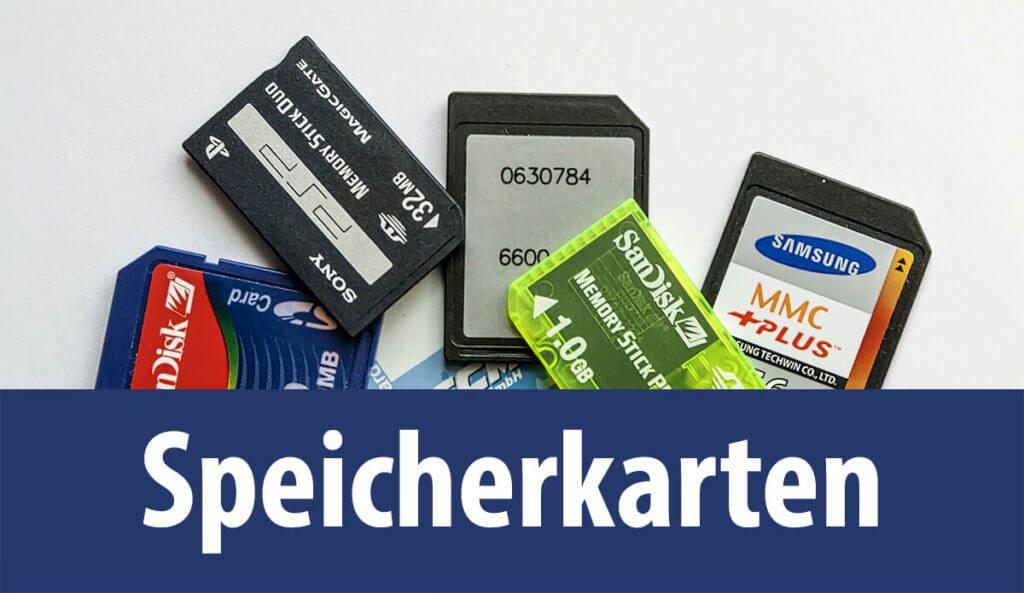 Die am häufigsten verwendeten Speicherkarten sind SD-Karten. Es gibt jedoch auch einige spezielle Karten wie die Sony Memory Sticks oder CF-Karten (Foto: Pixabay).