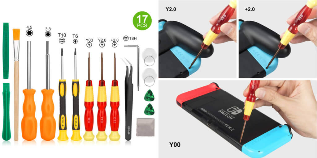 Das Set mit Tri Wing Schraubendreher, Pinzette, Spatel und mehr ist für die Nintendo Switch Reparatur und das Bearbeiten weiterer Konsolen geeignet.