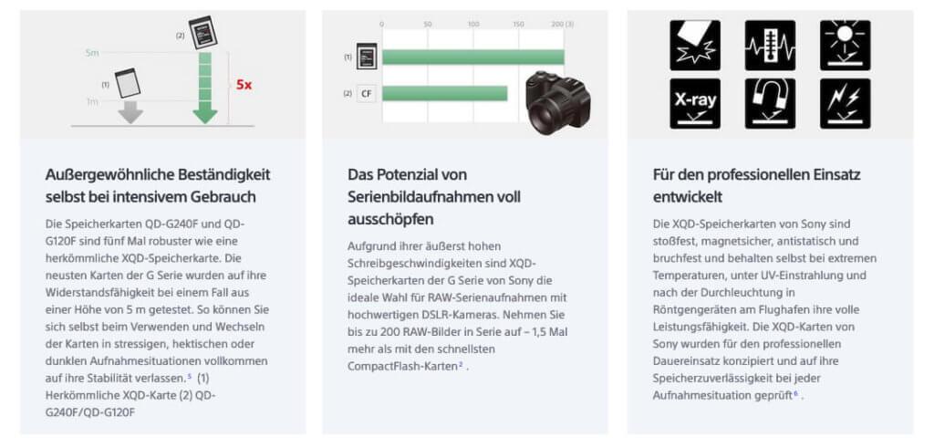 Sony zeigt auf der firmeneigenen Webseite einige Vorteile der G-Series XQD-Karten gegenüber den CF-Karten auf (Grafik: Sony).