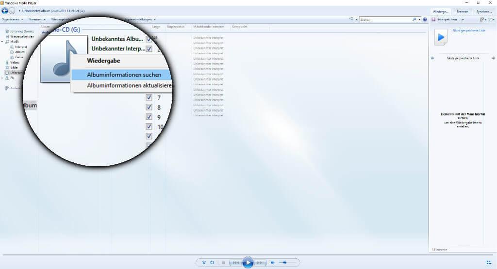 Mit einem Rechtsklick auf das fehlende Album-Art könnt ihr nach Informationen zur CD suchen.