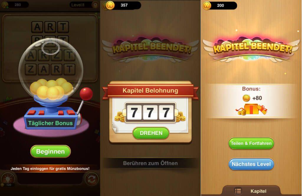 Die In-Game-Währung, mit der man in Wort Guru schneller zur Level-Lösung kommt, kann man für abgeschlossene Aufgaben und Kapitel bekommen.