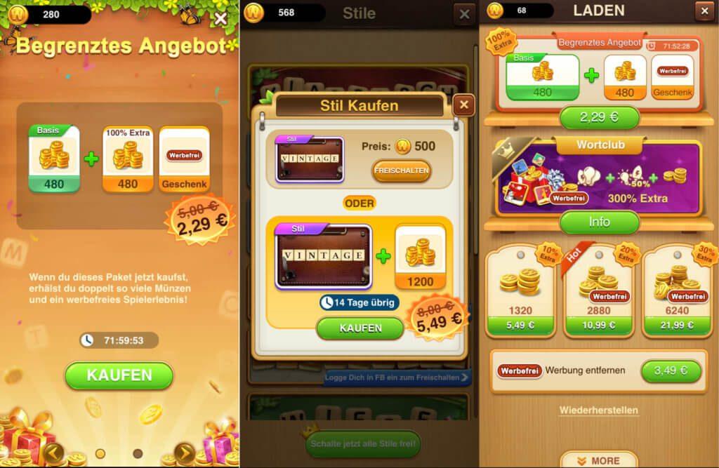 In-App-Käufe führen auch zu extra Münzen - sowie zu neuen Designs und zur Entfernung von Werbung. Der Preis für entsprechende Pakete kann aber die 20-Euro-Marke schnell überschreiten.