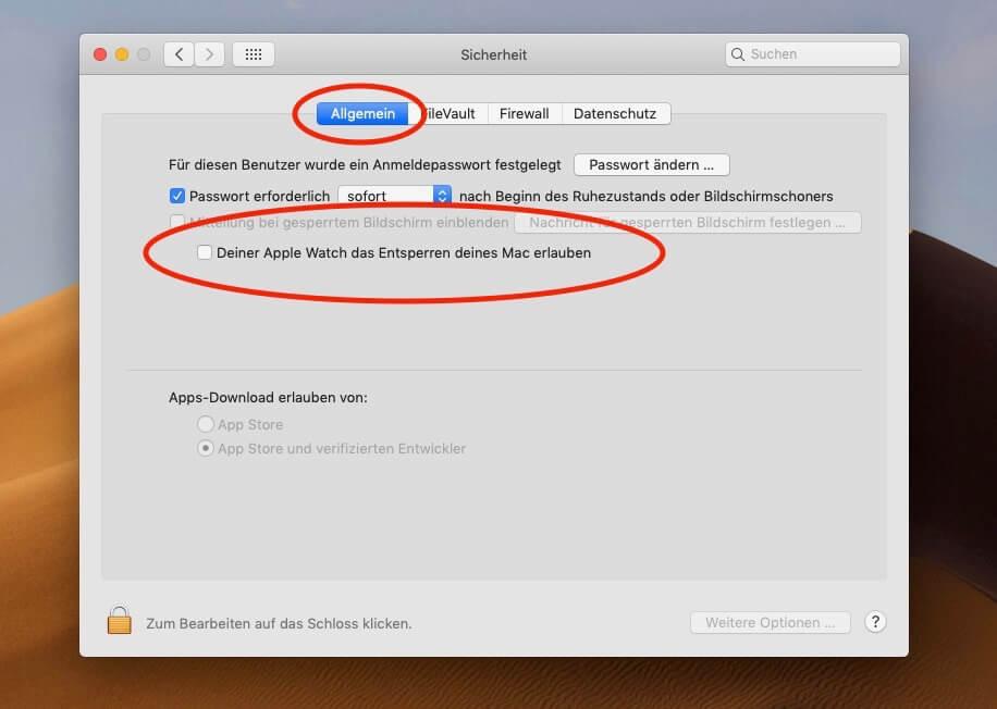 """Anschließend setzt ihr das Häkchen bei """"Deiner Apple Watch das Entsperren deines Mac erlauben""""."""
