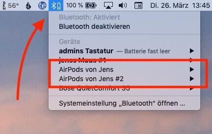 An Mac-Modellen werden die AirPods wie andere Bluetooth-Kopfhörer auch über die Systemeinstellungen (Bluetooth) hinzugefügt.