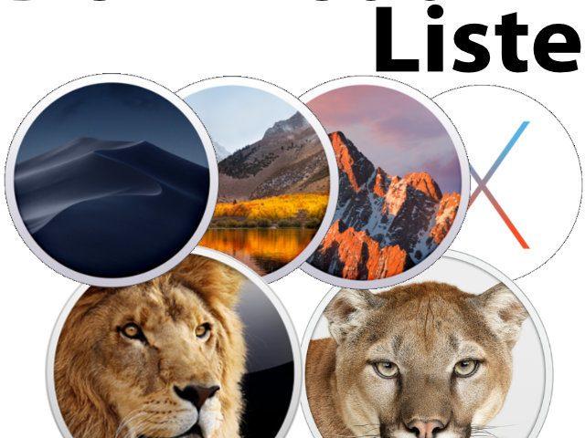 Download-Liste: Installer alter macOS und OS X Versionen