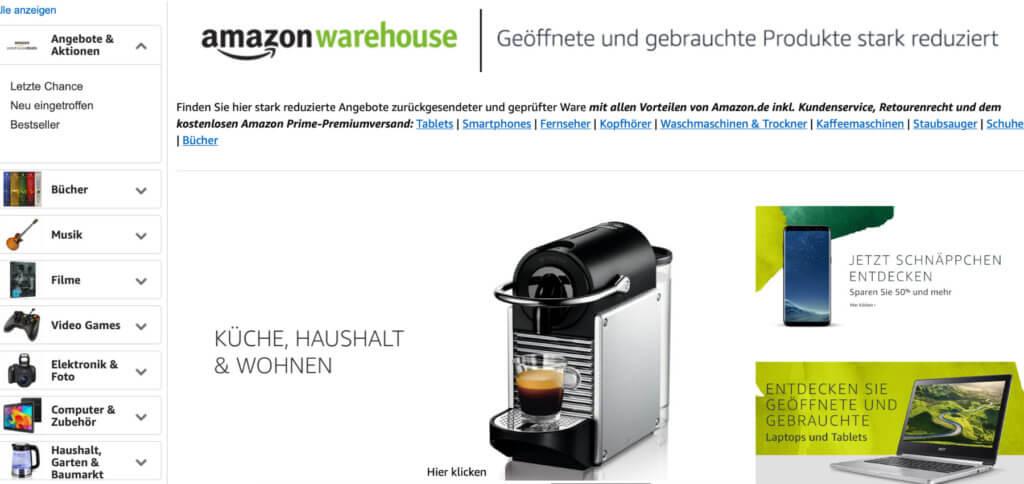 In den Amazon Warehouse Deals findet ihr B-Ware und 2. Wahl Schnäppchen aus allen Kategorien.