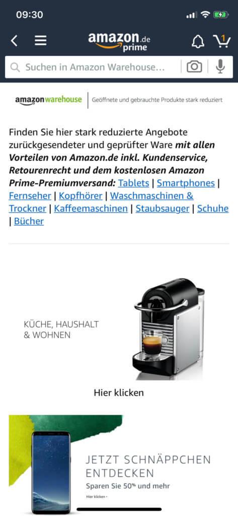 Auch in der Amazon App auf dem Apple iPhone findet ihr Warehouse-Angebote.