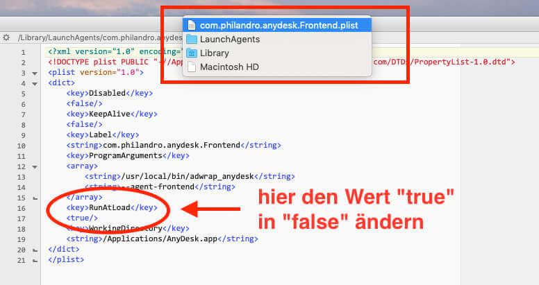 Hier sieht man, welche Änderungen man an der PLIST-Datei vornehmen muss, um den Autostart zu verhindern.