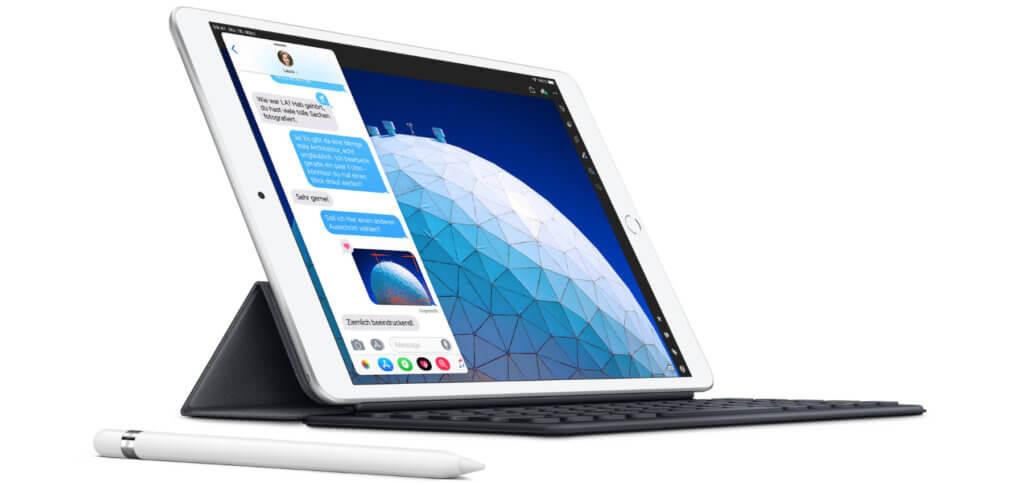 Das neue Apple iPad Air 2019 verfügt über ein 10,5 Zoll Retina-Display und einen A12-Chip. Es unterstützt den Apple Pencil, hat aber leider keinen USB-C-Anschluss. Bild: Apple