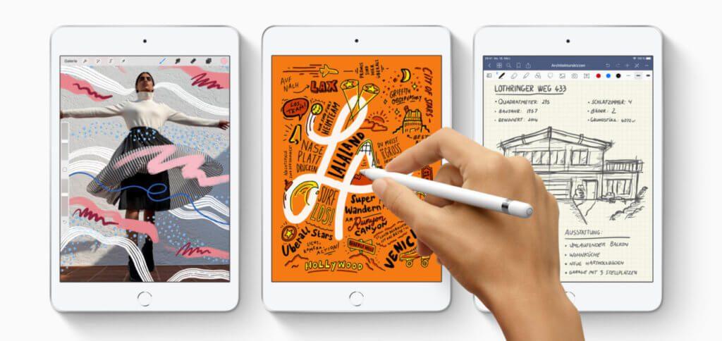 Das neue Apple iPad mini mit 7,9 Zoll Retina-Display hat einen A12-Chip und unterstützt den Apple Pencil. Bild: Apple